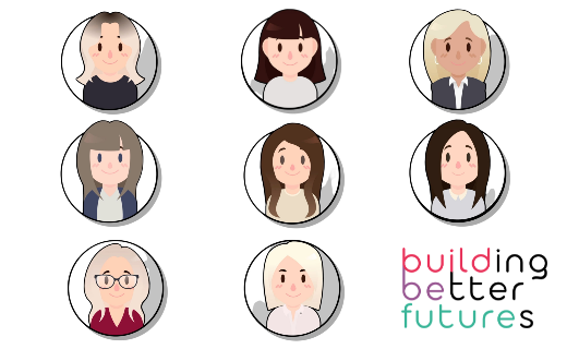 "cartoon images of women and the text ""building better futures"""
