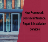 image of door and title reads New Framework Doors Maintenance, Repair and Installation Services